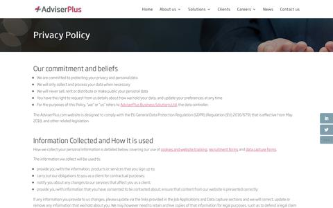 Screenshot of Privacy Page adviserplus.com - Privacy Policy - AdviserPlus HR - captured July 29, 2018