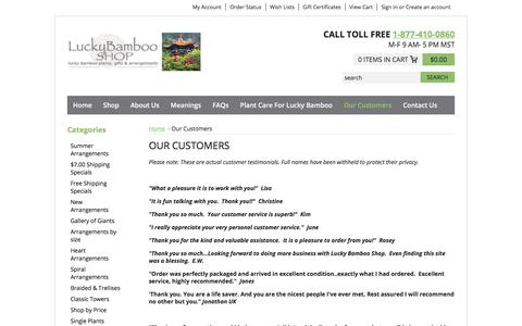 Screenshot of Site Map Page Testimonials Page luckybambooshop.com - Our Customers - captured June 29, 2018