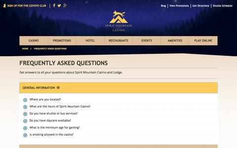 Screenshot of FAQ Page spiritmountain.com - Frequently Asked Questions   | Spirit Mountain Casino - captured July 29, 2016