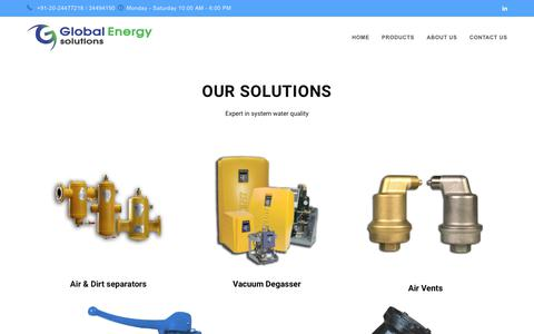 Screenshot of Products Page globalenergysolutions.net - Products – Global Energy Solutions - captured Sept. 28, 2018