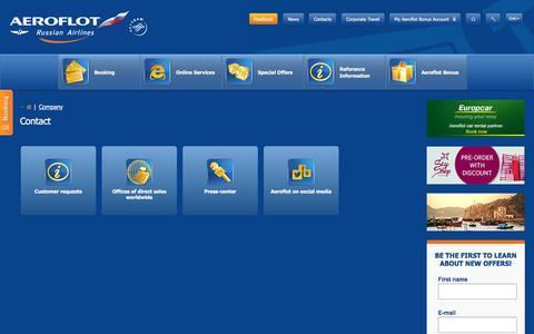 Screenshot of Contact Page aeroflot.ru - Contact   Aeroflot - captured Aug. 19, 2016