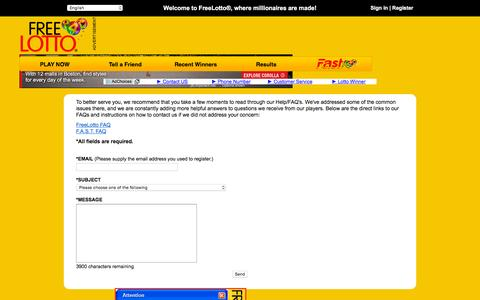 Screenshot of Contact Page freelotto.com - Contact FreeLotto - captured Nov. 23, 2015