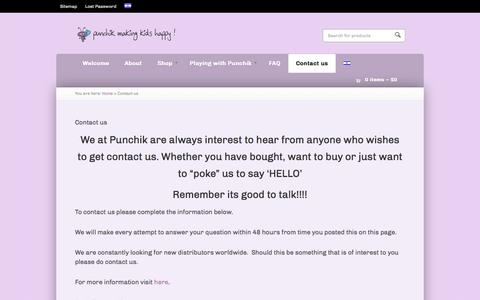 Screenshot of Contact Page punchik.com - Contact us - Childrens' Poncho exclusively by Punchik - captured Sept. 30, 2014