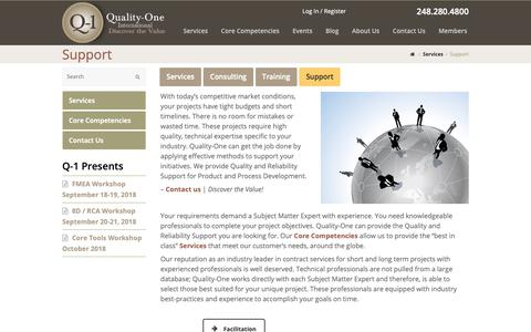 Screenshot of Support Page quality-one.com - Support | Quality and Reliability Support | Quality-One - captured Sept. 28, 2018