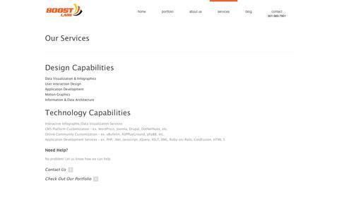 Screenshot of Services Page boostlabs.com - Design Services-Data Visualization, Infographics, UI Design | DC MD VA - captured Oct. 29, 2014