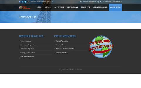 Screenshot of Contact Page dekaradventures.org - Dekar   » Contact Us - captured Sept. 30, 2014