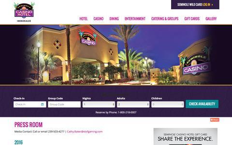 Screenshot of Press Page seminoleimmokaleecasino.com - Press Room | Seminole Casino Hotel Immokalee - captured Sept. 6, 2016