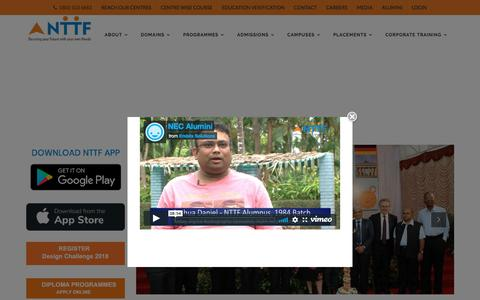 Screenshot of Home Page nttftrg.com - NTTF technical training institute in india   - captured Sept. 22, 2018