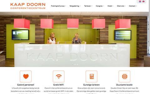 Screenshot of Home Page kaapdoorn.nl - Conferentiecentrum Kaap Doorn | Vergaderlocatie Doorn - captured Sept. 6, 2015