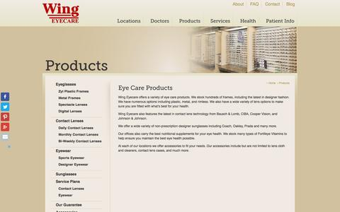 Screenshot of Products Page wingeyecare.com - Wing Eyecare | Eyeglasses/Sunglasses, Contact Lenses, & Accessories - captured Jan. 13, 2016
