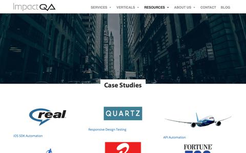 Screenshot of Case Studies Page impactqa.com - Case Studies - Quality Assurances Services NYC Testing Partners & QA Firms New York - captured Nov. 14, 2018