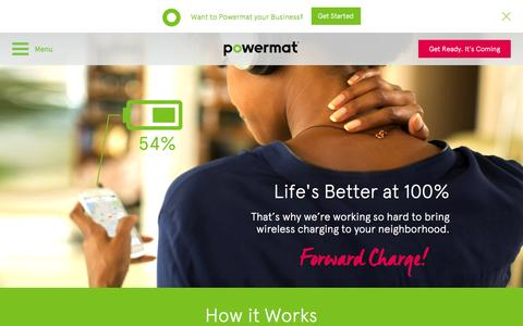 Screenshot of Locations Page powerkiss.com - Powermat | Wireless Charging Solutions - captured Oct. 8, 2014
