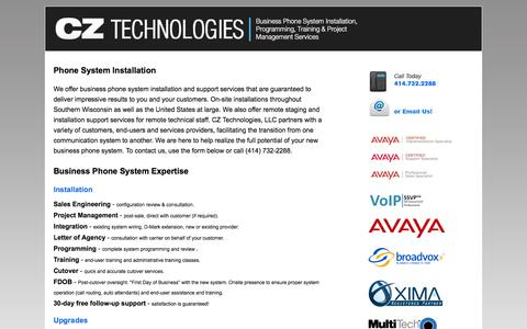 Screenshot of Home Page ipofficeinfo.com - CZ Technologies: Business Phone System Installers, Programmers, Trainers, Consultants and Movers - captured Sept. 22, 2014