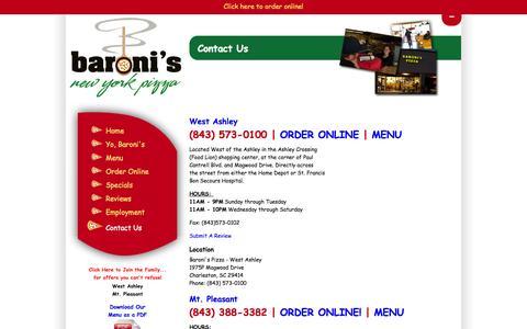 Screenshot of Contact Page baronispizza.com - Contact | Baroni's Pizza Charleston SC - captured Oct. 5, 2014