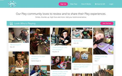Screenshot of Testimonials Page pley.com - Pley reviews |  Pley | Rent the coolest toys including LEGO®, American Girl and other amazing toys - captured Feb. 17, 2016