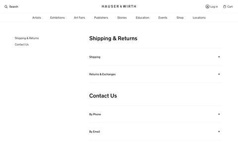 Screenshot of Support Page hauserwirth.com - Customer Service - Hauser & Wirth - captured July 17, 2018