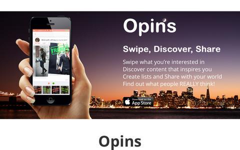 Screenshot of Testimonials Page opinsapp.com - Opins - Swipe, Discover, Share - captured Dec. 16, 2014