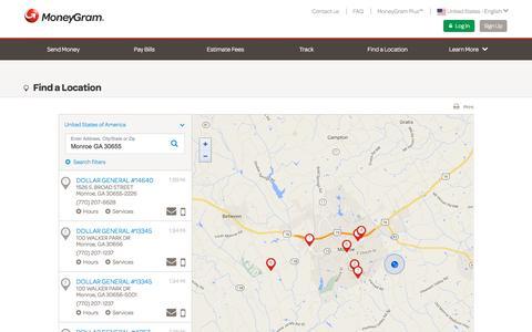 Screenshot of Locations Page moneygram.com - MoneyGram Online - captured April 13, 2016