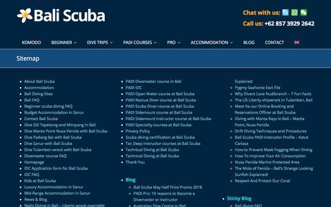 Screenshot of Site Map Page baliscuba.com - Sitemap - Bali Scuba - captured Aug. 1, 2018