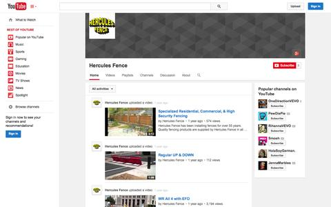 Screenshot of YouTube Page youtube.com - Hercules Fence  - YouTube - captured Oct. 23, 2014