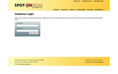 Screenshot of Login Page spot-on-signs.com - Spot-On Signs : Customer Portal : Customer Login - captured Oct. 18, 2018