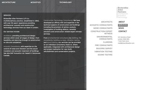 Screenshot of Services Page bickerdikeallen.com - Services | Architectural | Acoustic | Building Technology - captured Oct. 5, 2018