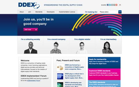 Screenshot of Home Page ddex.net - DDEX | Standardising the digital supply chain - captured Sept. 24, 2014