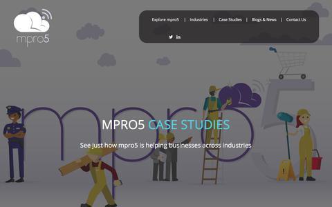 Screenshot of Case Studies Page mpro5.com - Workflow software examples | business management software | Mpro5 - captured Sept. 14, 2017