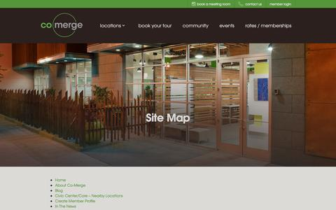 Screenshot of Site Map Page co-merge.com - Site Map, Shared Office Space - captured Jan. 29, 2016