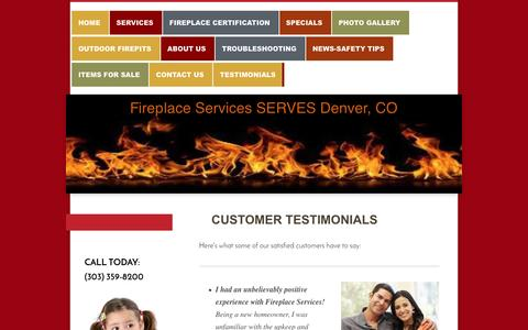 Screenshot of Testimonials Page denverfireplaceservices.com - Read What Our Customers Are Saying About Fireplace Services - captured Nov. 25, 2016