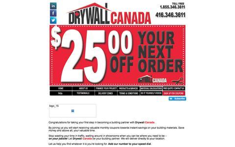 Screenshot of Signup Page drywallcanada.com - Signup | Drywall Canada | Wholesale Drywall Prices | Your Building Partner! - captured Oct. 5, 2014