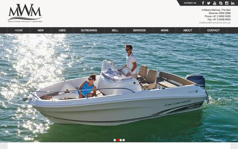 Screenshot of Home Page mwmarine.com.au - Matthew Willett Marine - New and Used Boat Sales - Prestige Yachts, Jeanneau and Haines Hunter power boats. - captured Sept. 6, 2015