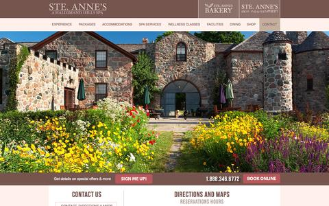 Screenshot of Contact Page steannes.com - Directions & Maps - All-Inclusive Ontario Spa Resort | Ste. Anne's Spa - captured Feb. 16, 2016