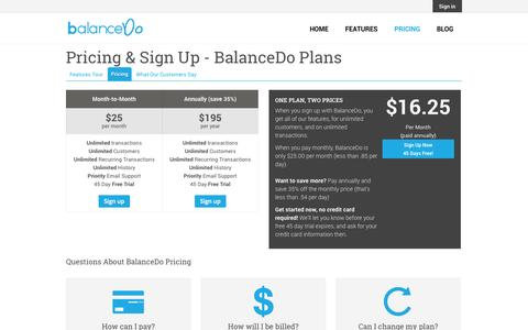 Screenshot of Pricing Page balancedo.com - Pricing & Sign Up - BalanceDo Plans | BalanceDo - captured Oct. 29, 2014
