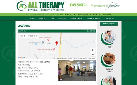 Screenshot of Locations Page alltherapy.net - Locations - ALL Therapy - captured Oct. 2, 2018