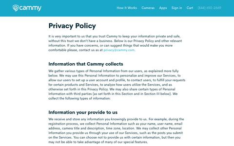 Screenshot of About Page Privacy Page cammy.com - Privacy Policy | Cammy - captured April 13, 2018