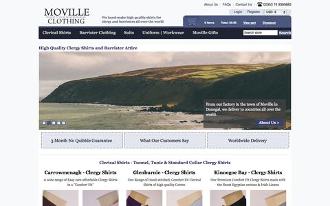 Screenshot of Home Page movilleclothing.com - Moville Clergy Shirts UK | Clerical Clothing UK | Quality Tailors England - captured Oct. 8, 2014
