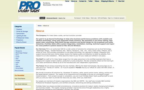 Screenshot of About Page provideosales.com - About Pro Video Sales - captured Oct. 3, 2014