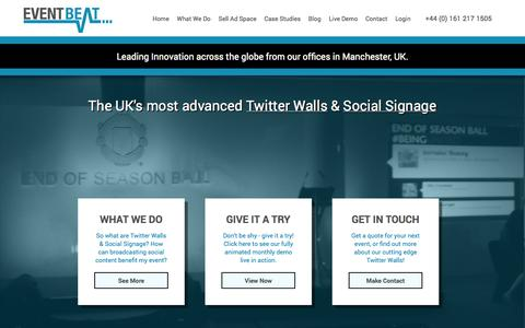 Screenshot of Home Page eventbeat.co.uk - The UK's most advanced Twitter Walls and Social Signage - EventBeat - captured Sept. 30, 2014