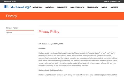 Screenshot of Privacy Page madisonlogic.com - Privacy | Madison Logic - captured Sept. 16, 2014