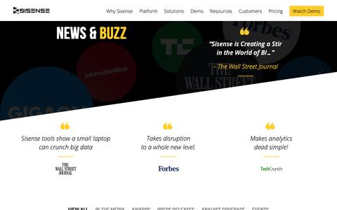 Screenshot of Press Page sisense.com - News, Buzz and Press for Sisense Business Analytics - captured Dec. 26, 2018