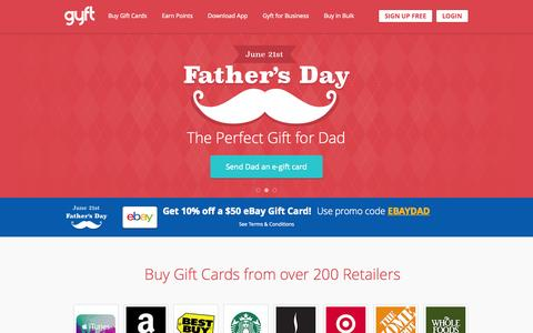 Screenshot of Home Page gyft.com - Gyft | Buy Digital and eGift Cards | Free Mobile Gift Card App - captured June 16, 2015