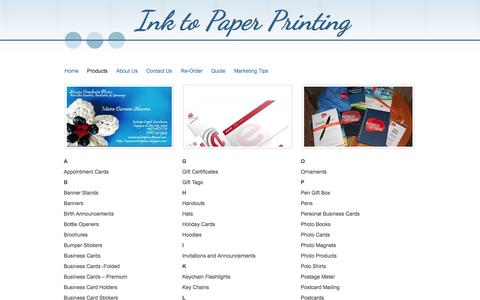 Screenshot of Products Page inktopaperprinting.com - Ink to Paper Printing - Products - captured Sept. 30, 2014