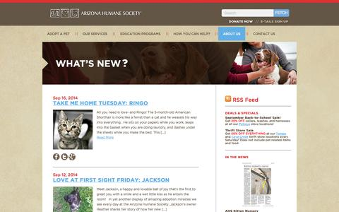 Screenshot of Blog azhumane.org - Arizona Humane Society - Improving the Lives of Animals Since 1957. Promoting dog and cat rescue and animal adoption in the Phoenix/Maricopa county area. - captured Sept. 19, 2014