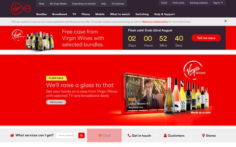 Screenshot of Home Page virginmedia.com - Virgin Media - Official Site - captured Aug. 21, 2018