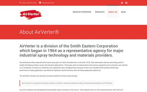 Screenshot of About Page airverter.com - About AirVerter® - captured Dec. 24, 2015