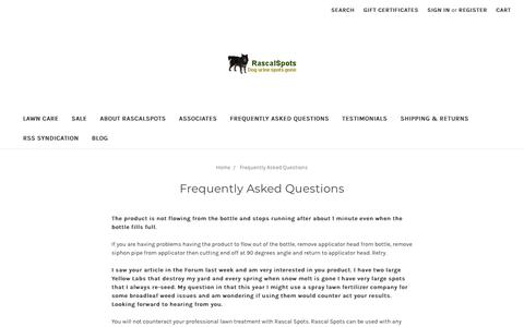 Screenshot of FAQ Page rascalspots.com - Frequently Asked Questions - captured Oct. 18, 2018