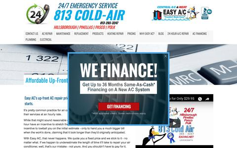 Screenshot of Pricing Page easyac.net - Affordable Up-Front Tampa AC Repair Pricing | Easy AC - captured July 15, 2018