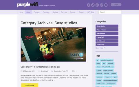 Screenshot of Case Studies Page purplewifi.net - Case studies | Purple WiFi - captured Sept. 22, 2014