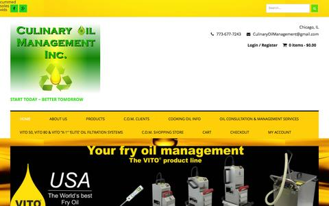 Screenshot of Home Page culinaryoilmanagement.com - Culinary Oil Management Inc. | Start Today ~ Better Tomorrow - captured Dec. 14, 2015